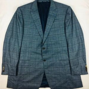 Ermenegildo Zegna Blue Checked Wool Sportcoat 52L